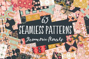 Geometric Florals Seamless Patterns