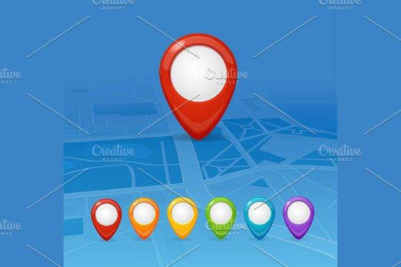 Maps and Pin Navigation. Vector - Illustrations