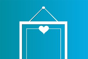 Hanging poster with heart icon love