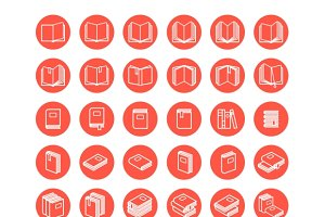 Linear books icon set