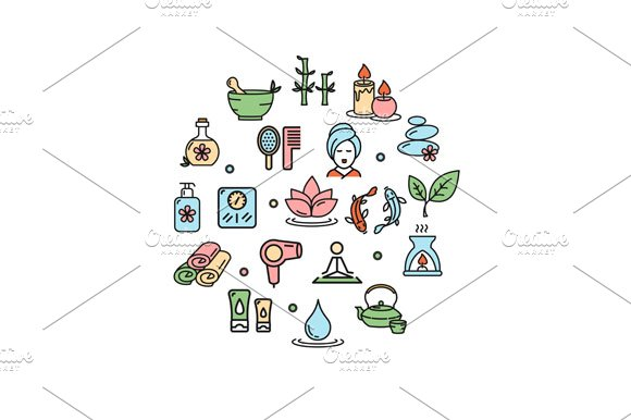 Spa Round Design Icon in Icons