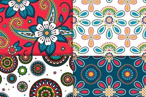 Indian floral pattern set