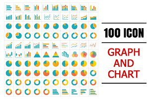 100 icon graph and chart