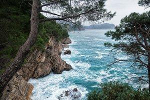 Stormy blue sea