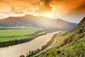 Altai mountains at sunset time