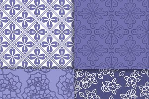 Violet and white floral wallpapers