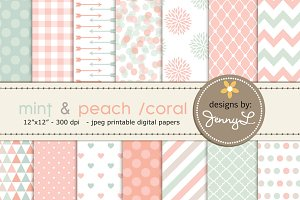 Mint Peach Coral Digital Papers