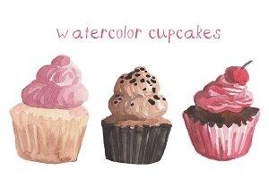 Watercolor Cupcakes Clip art