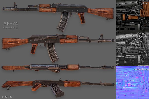 3D Objects: Beatheart Creative Studio - AK-74 Assault Rifle Model