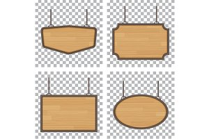 set of vector wooden sign isolated