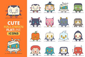 Cute Flat Halloween Characters Vol.1
