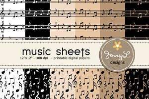 Musical Sheet Digital Papers