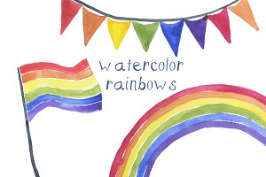 Watercolor Rainbows Illustration