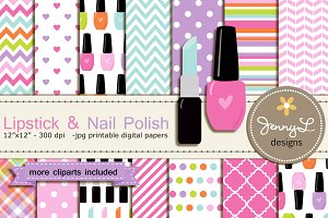 Nail Polish Digital Papers Clipart