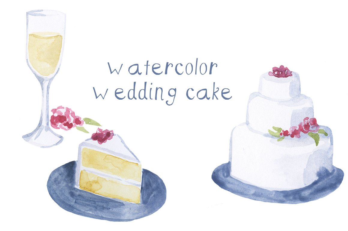 Watercolor Cake Clip Art : Watercolor Wedding Cake Illustration ~ Illustrations ...