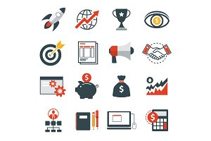 startup business icon flat design
