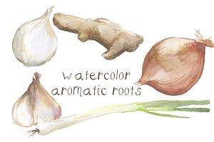 Watercolor Roots Clip Art