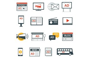 advertising media icon flat design