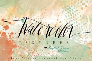 Watercolor, peach textures pack