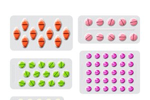 Set of packed pills
