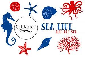 Sea Life Clip Art - Navy Blue / Red