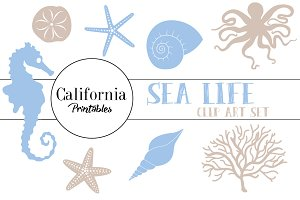Sea Life Clip Art - Beige and Blue