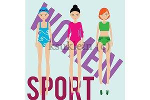 Women sport. Gym, athlete, swimmer