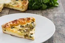 French quiche Lorraine on a plate