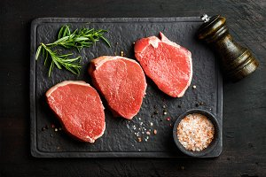 Raw beef Eye Round steaks