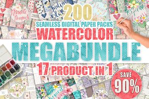 Watercolor digital paper MEGABUNDLE