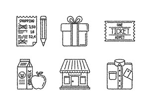 Sketched shopping iconset