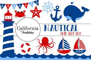 Cute Nautical Clip Art Set