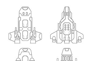 Sci-fi spaceships set lineart
