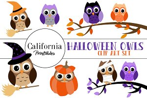 Halloween Owls Clip Art Set