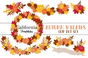Autumn Fall Wreaths Clip Art Set