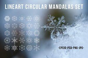 Lineart circular mandalas set.