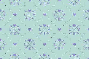 Seamless pattern with heart & arrow