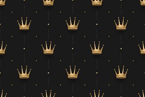Seamless pattern with king crowns