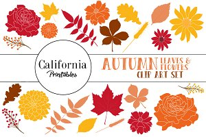 Autumn Leave and Flower Clip Art