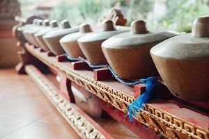 "Traditional balinese percussive instruments instruments for ""Gamelan"" ensemble music, Ubud, Bali, Indonesia."