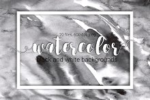 20 B&W watercolor backgrounds