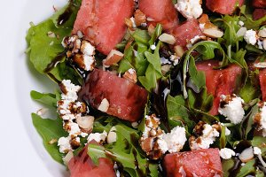 Arugula with ricotta and watermelon