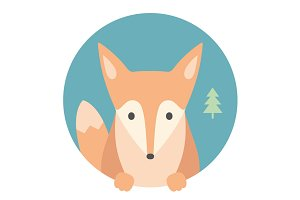 Fox. Portrait in flat graphic