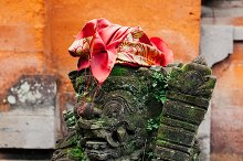 Balinese statue in the temple, Ubud, Bali