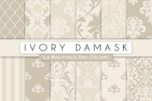 Ivory Damask Seamless Digital Paper