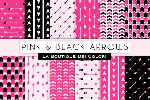 Hot Pink Black Arrow Digital Paper