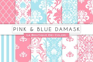 Pink and Blue Damask Digital Paper