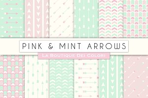 Pink and Mint Arrow Digital Paper