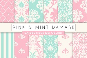 Pink and Mint Damask Digital Paper