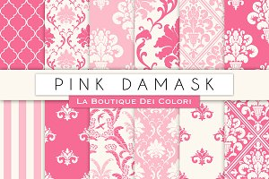 Pink Damask Seamless Digital Paper